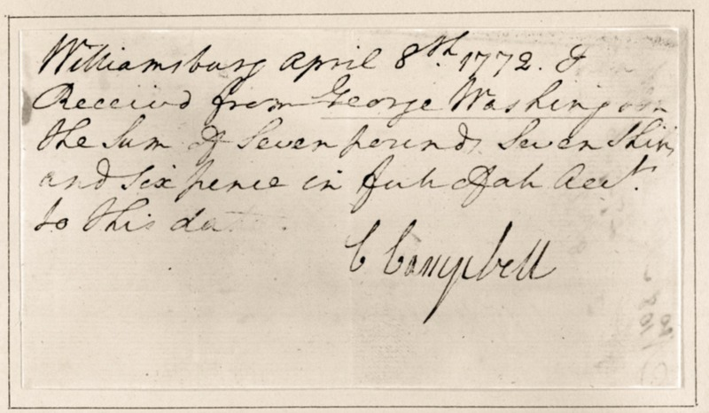 Receipt from Williamsburg Tavern, 1772