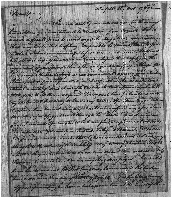 Letter to Charles Steuart from James Parker