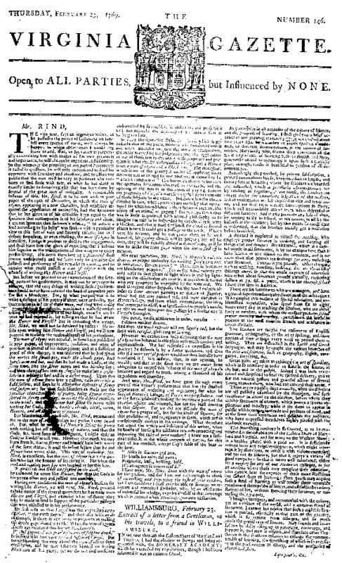 Rind's <i>Virginia Gazette</i>