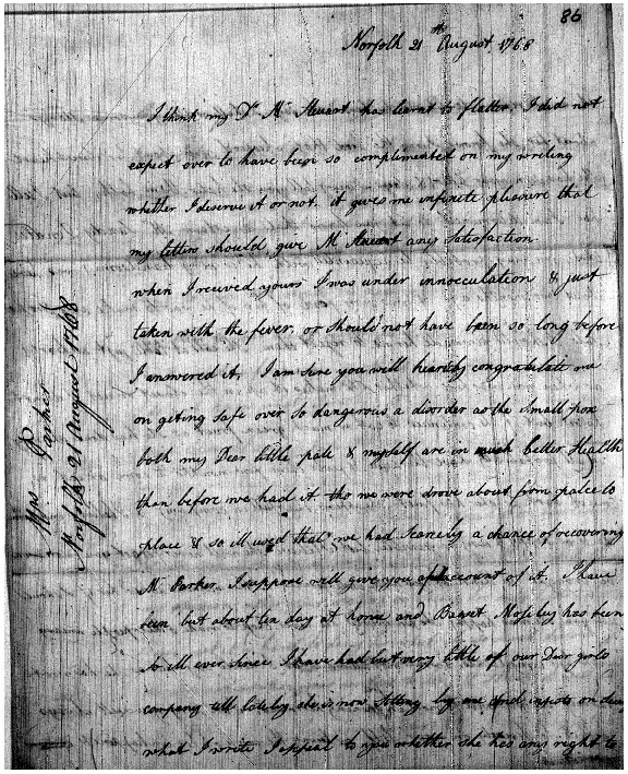 Letter to Charles Steuart from Margaret Parker