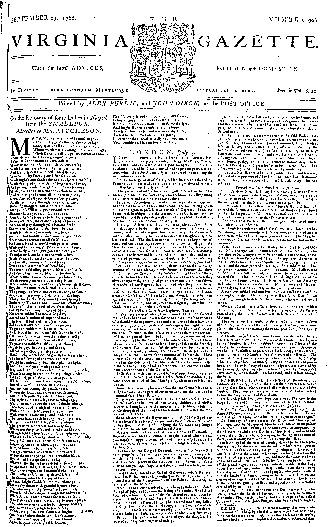 Alexander Purdie and John Dixon's <i>Virginia Gazette</i>