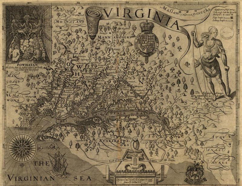 John Smith's 1606 Map of Virginia