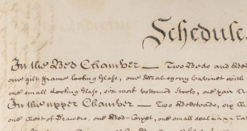Small piece of schedule from John Randolph's deed of indenture, August 25 1775 selling house, 90+ acres, and furnishings for 5 shillings to Peyton Randolph and 2 others.