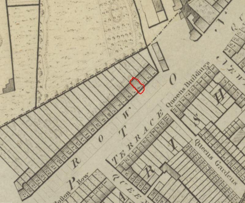 Horwood's Coach Ride, a map showing 4 Brompton Row, Kensington, London